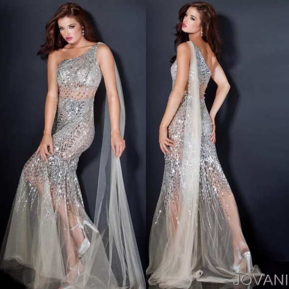 Jovani Dresses | Stunning Mirror Silver Sequin Mermaid Gown | Poshmark